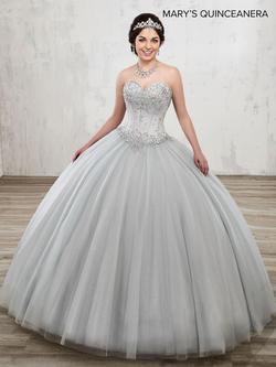 Style MQ1013 Mary's Silver Size 6 Ball gown on Queenly