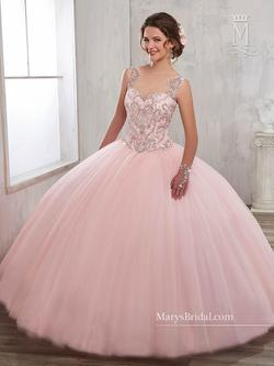 Style 4802 Mary's Pink Size 4 Tall Height Lace Ball gown on Queenly