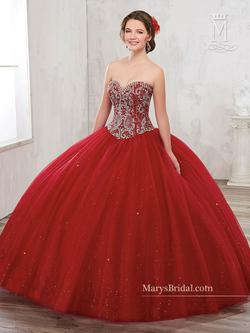 Style 4801 Mary's Red Size 2 Tall Height Lace Ball gown on Queenly