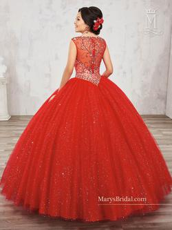 Style 4813 Mary's Red Size 8 Tall Height V Neck Ball gown on Queenly