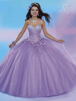 Style 4653 Mary's Purple Size 6 Tall Height Sheer Lace Ball gown on Queenly