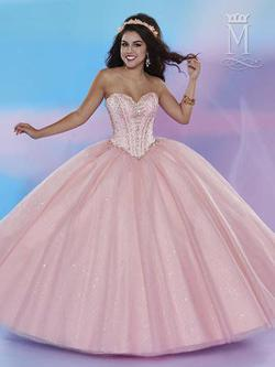 Style 4654 Mary's Pink Size 10 Sheer Lace Ball gown on Queenly