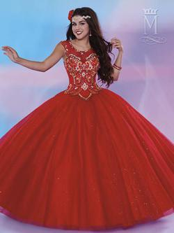 Style 4656 Mary's Red Size 2 Tall Height Lace Ball gown on Queenly