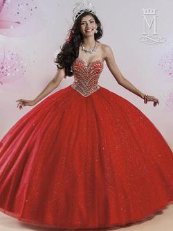 Style 4Q408 Mary's Red Size 8 Lace Ball gown on Queenly