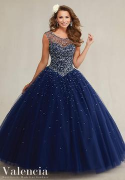 Style 89081 Vizcaya Blue Size 8 Tulle Tall Height Ball gown on Queenly