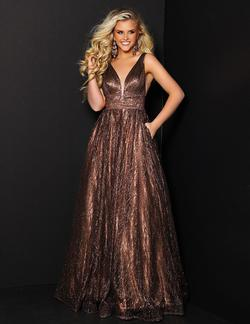 Style 91605 2Cute Prom Gold Size 6 Pageant Tall Height A-line Dress on Queenly