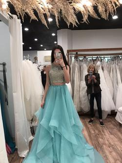 Jovani Blue Size 0 Gold Pageant Teal Ball gown on Queenly