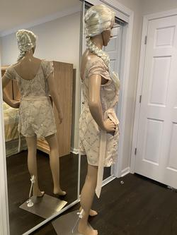 SHAIL K Nude Size 10 Silver Sequin Jumpsuit Dress on Queenly