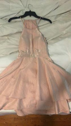 Camille La Vie Pink Size 2 Flare Halter Ball gown on Queenly