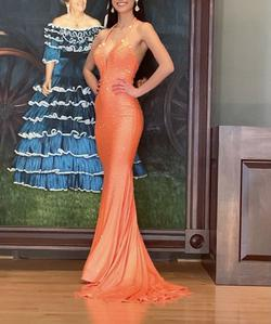 Johnathan Kayne Orange Size 0 Tall Height Mermaid Dress on Queenly