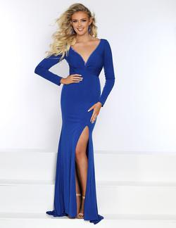 Style 20044 2Cute Prom Royal Blue Size 8 Plunge Prom Side slit Dress on Queenly
