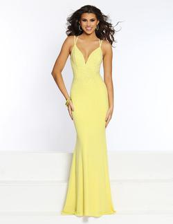 Style 20068 2Cute Prom Yellow Size 4 Halter Tall Height Mermaid Dress on Queenly