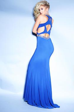 Style 71007 2Cute Prom Blue Size 2 Halter Tall Height Mermaid Dress on Queenly