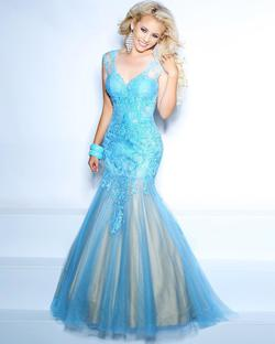 Style 71002 2Cute Prom Blue Size 4 Sheer Tall Height Mermaid Dress on Queenly