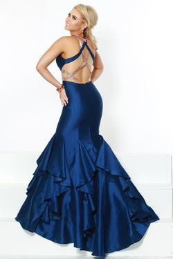 Style 81073 2Cute Prom Blue Size 4 Halter Tall Height Mermaid Dress on Queenly