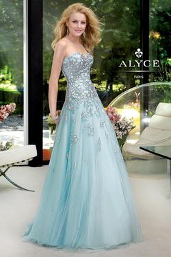 Style 6029 Alyce Paris Blue Size 4 Prom Pageant Sequin A-line Dress on Queenly