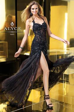 Style 2188 Alyce Paris Black Size 4 Tall Height Sheer Lace Side slit Dress on Queenly