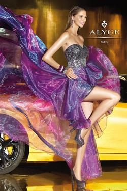 Style 6038 Alyce Paris Purple Size 2 Shiny Pageant Side slit Dress on Queenly