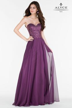 Style 6684 Alyce Paris Purple Size 10 Tulle Sweetheart Tall Height Wedding Guest A-line Dress on Queenly