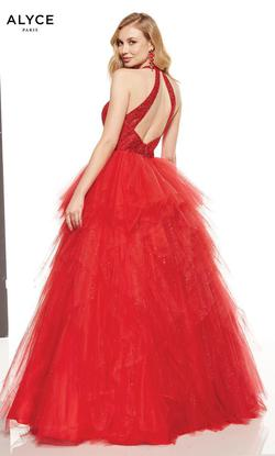 Style 60749 Alyce Paris Red Size 2 Quinceanera Tulle Tall Height Ball gown on Queenly