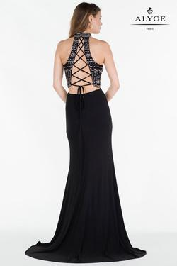 Style 6699 Alyce Paris Black Size 12 Pageant Halter Corset Tall Height Straight Dress on Queenly