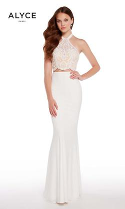 Style 60021 Alyce Paris White Size 6 Prom Two Piece Jersey Straight Dress on Queenly