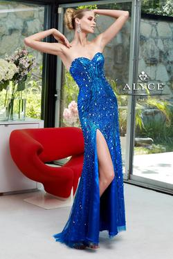 Style 6122 Alyce Paris Blue Size 6 Pageant Tall Height Side slit Dress on Queenly