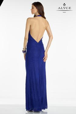 Style 35793 Alyce Paris Blue Size 6 Halter Tall Height Wedding Guest Mermaid Dress on Queenly