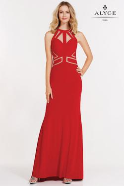 Style 8013 Alyce Paris Red Size 12 Halter Tall Height Mermaid Dress on Queenly
