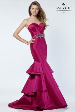 Style 6734 Alyce Paris Pink Size 12 Plus Size Tall Height Mermaid Dress on Queenly