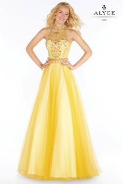 Style 6766 Alyce Paris Yellow Size 6 Pageant Halter Tall Height A-line Dress on Queenly