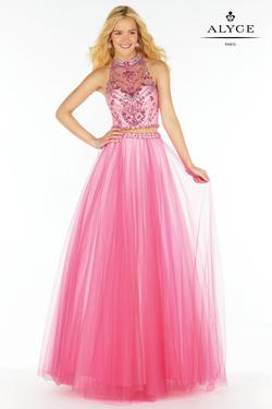 Style 6766 Alyce Paris Pink Size 2 Halter Tall Height A-line Dress on Queenly