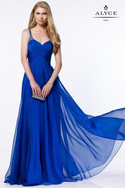 Style 8023 Alyce Paris Blue Size 18 Pageant Tall Height A-line Dress on Queenly