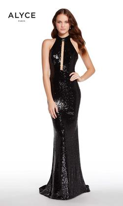Style 60034 Alyce Paris Black Size 14 Pageant Halter Tall Height Straight Dress on Queenly