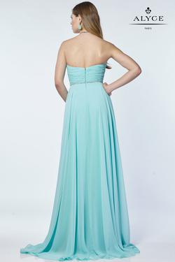 Style 6676 Alyce Paris Blue Size 10 Tulle Sweetheart Tall Height Straight Dress on Queenly