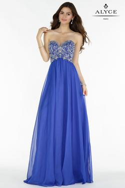 Style 6682 Alyce Paris Blue Size 2 Tulle Sweetheart Tall Height Straight Dress on Queenly