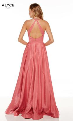 Style 60623 Alyce Paris Pink Size 8 Halter Tall Height A-line Dress on Queenly