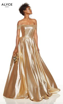 Style 60723 Alyce Paris Gold Size 8 Prom Tall Height Ball gown on Queenly