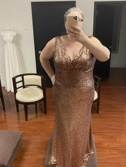Tease Gold Size 22 Jewelled Straight Dress on Queenly