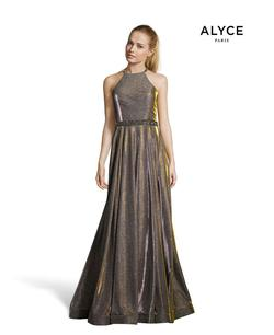 Style 60569 Alyce Paris Gold Size 12 Halter Plus Size Pockets A-line Dress on Queenly