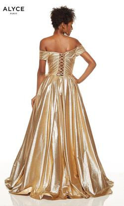 Style 60723 Alyce Paris Gold Size 8 Prom A-line Dress on Queenly