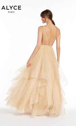 Style 1441 Alyce Paris Gold Size 4 Quinceanera Tall Height Ball gown on Queenly