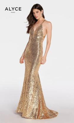 Style 1302 Alyce Paris Gold Size 2 Pageant Halter Tall Height Mermaid Dress on Queenly
