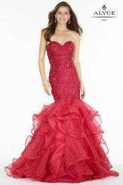 Style 6747 Alyce Paris Red Size 2 Pageant Tall Height Mermaid Dress on Queenly