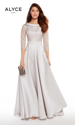 Style 27256 Alyce Paris Silver Size 12 Tall Height Lace A-line Dress on Queenly