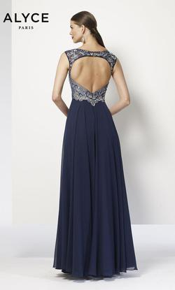 Style 27165 Alyce Paris Blue Size 14 Navy Plus Size A-line Dress on Queenly