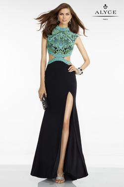 Style 6523 Alyce Paris Multicolor Size 2 High Neck Cut Out Side slit Dress on Queenly