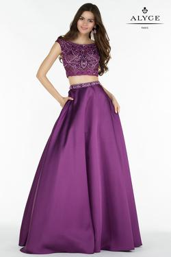 Style 6742 Alyce Paris Purple Size 10 Tall Height A-line Dress on Queenly