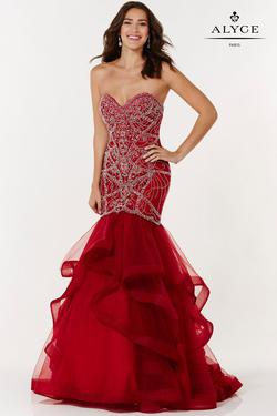 Style 6746 Alyce Paris Red Size 12 Pageant Mermaid Dress on Queenly