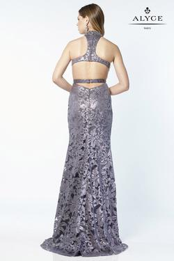 Style 6786 Alyce Paris Blue Size 6 Halter Tall Height Lace Straight Dress on Queenly